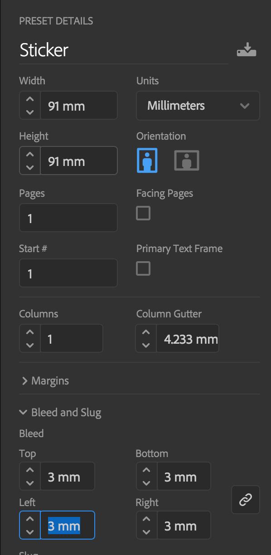 how to setup a sticker for print